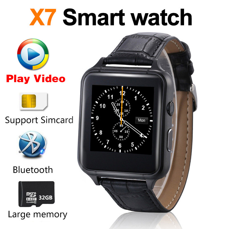 X7 Bluetooth Smart Watch Play Video Dial Synchronous push Leather strap Mobile Phone Smartwatch Phonebook High