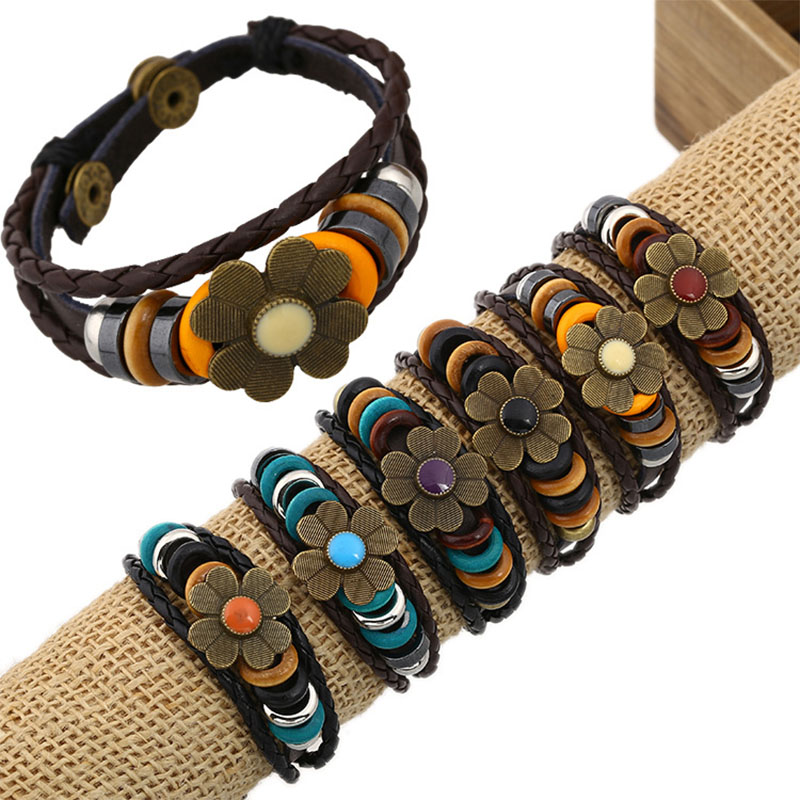Vintage Genuine Leather Women Bracelets Alloy Flower Charms Wrap Cuff Jewelry 6 Colors Handmade Punk Style Braided Bangle