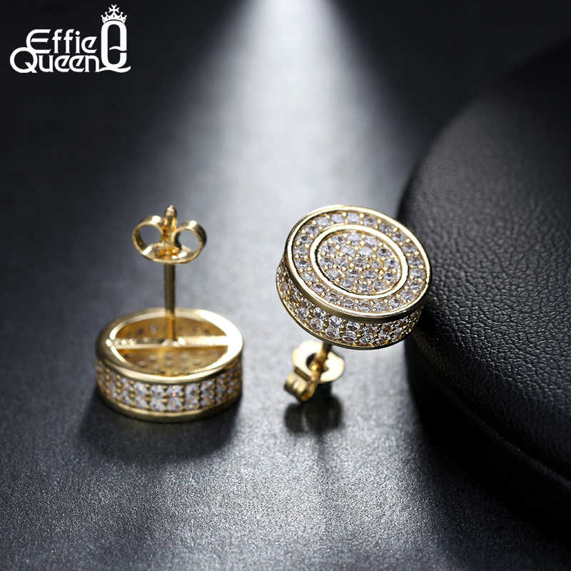 Effie Queen Gold & Silver Color Stud Earrings Personalized Zirconia Round Earring Jewelry Accessories for Women Hot Brand DE130