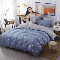 Gray AB side Print Comforter Bedding Sets Sheet Pillowcase Quilt Cover 100%Cotton Bedlinen Twin Full Queen King Nordic Style