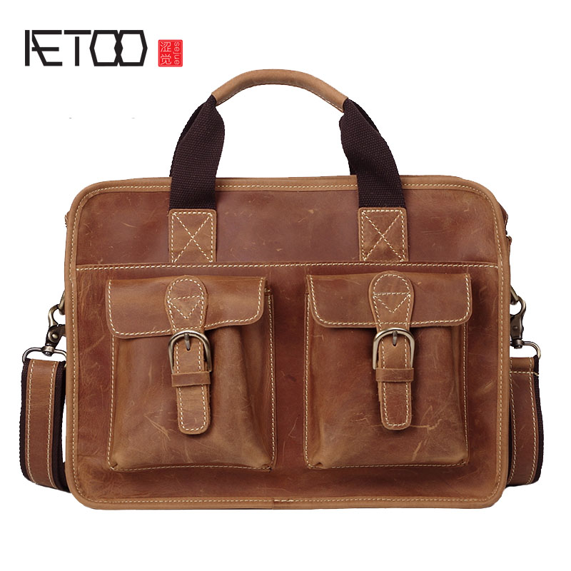 AETOO Men's postman package retro handmade first layer cowhide portable briefcase casual mad horse leather messenger bag