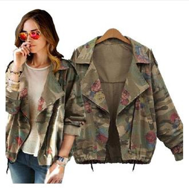 2015 New women's army green camouflage jackets coat zipper cardigans denim jackets women coats winter clothings Ladies acket