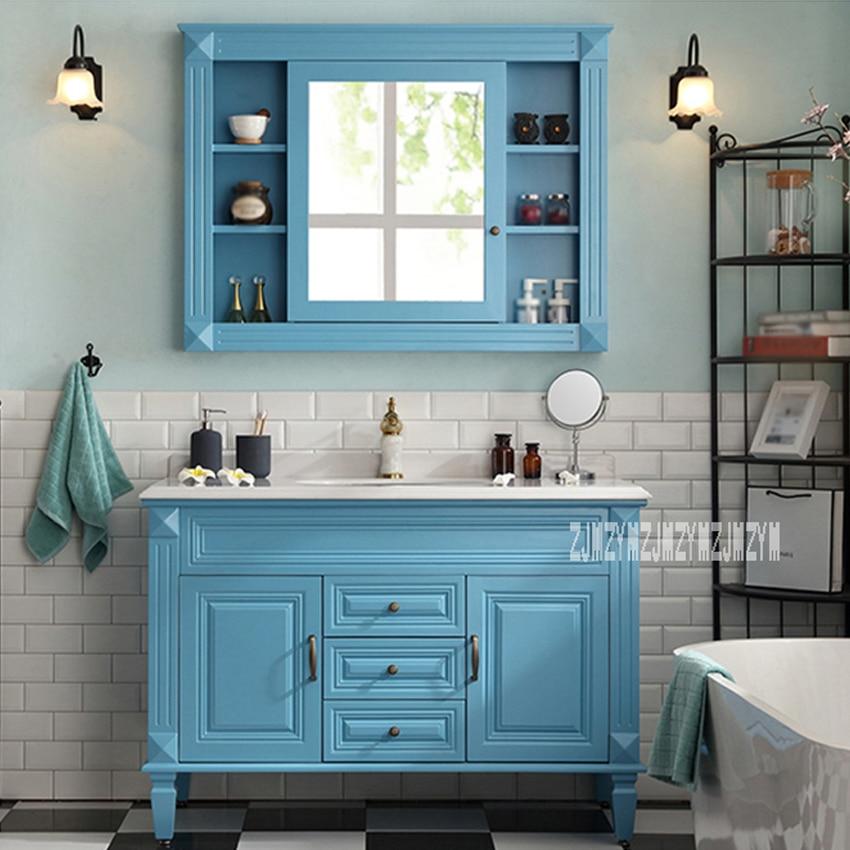 European Wood Bathroom Furniture Bathroom Cabinet Combination 2-door 3-drawer Bathroom Storage Cabinet With Mirror 110cm/120cm
