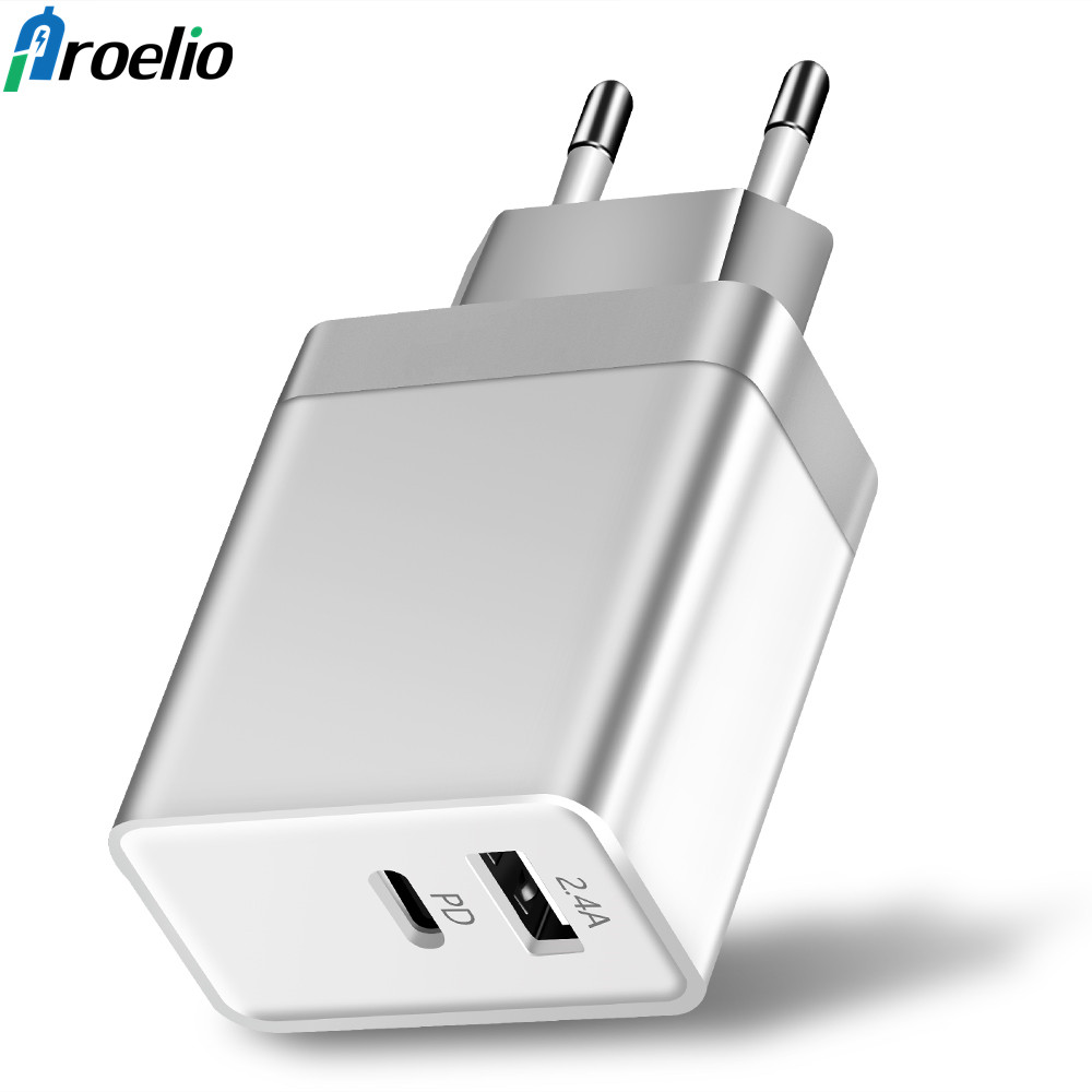 Proelio New USB PD Charger Fast Charge Type C Power 2 Ports Travel Wall Quick Charger for iPhone X 8 8 Plus New Macbook EU/US/UK