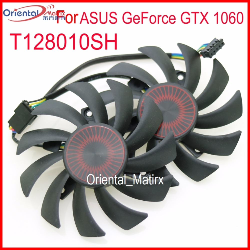 2pcs/lot T128010SH DC 12V 0.25A 75mm VGA Fan For ASUS GeForce GTX 1060 GTX1060-03G-SI Graphics Card Fan 5Pin image