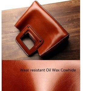 Image 5 - Винтажные женские сумки из натуральной кожи с широкими лямками, сумка через плечо, маленькая стильная дамская сумочка на ремне