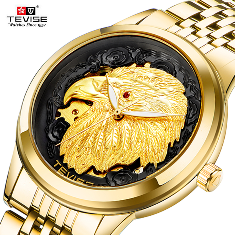 TEVISE Automatic Watch Eagle Men Fashion Waterproof Sport Business Mechanical Gold Watches Clock Automatico Relogio Masculino
