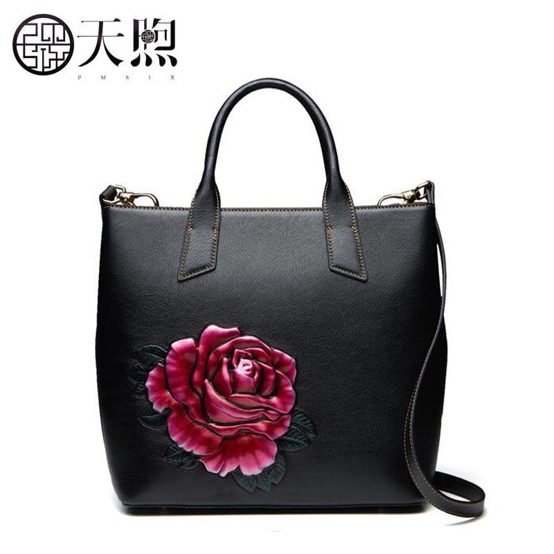 Pmsix2018 new luxury brand high-quality fashion national style large-capacity handbag genuine leather bag counter, women's famou pmsix 2018 new autumn