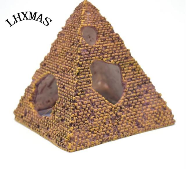Aquarium Decoratie Kasteel Hars Egyptische Piramide Rotstuin Schuilplaatsen Ontsnapping Gat Aquarium Landschapsarchitectuur Ornament Vis Huis A073