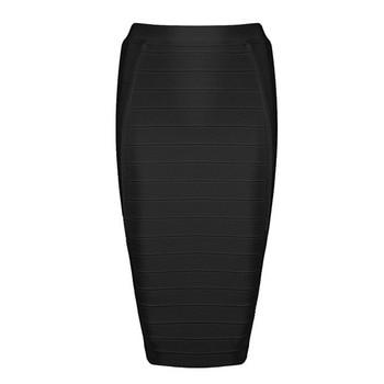 Seamyla 2019 Pencil Skirts Women Red Blue Black Orange Bodycon Bandage Skirt Sexy Knee Length Striped Midi Skirt Club High Waist 4