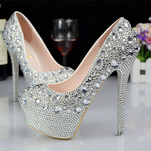 Luxury Wedding Shoes With Rhinestone Crystals Round Toe High Heel Custom Made Modest Woman s Party