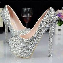 Luxury Wedding font b Shoes b font With Rhinestone Crystals Round Toe High Heel font b