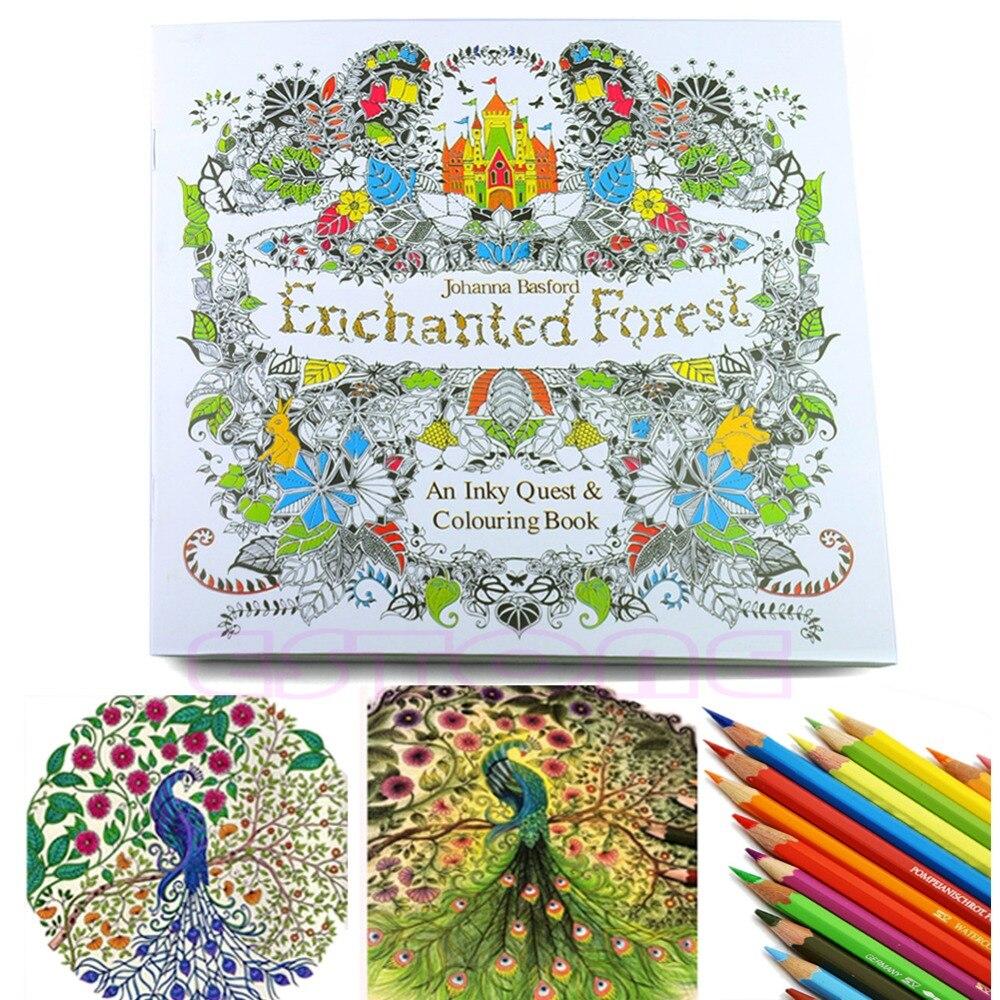 Новый Детский Взрослый Зачарованный лес английская версия рисунок раскраска книга живопись книга