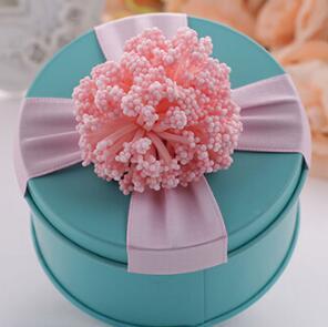 100 шт. Aqua Blue Свадебные круглый пользу Коробки Розовый коробка конфет с цветочным украшением Baby Shower поставки для мальчиков и девочек