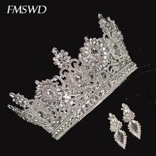รอบคริสตัลคริสตัล Crown ต่างหูเจ้าสาวงานแต่งงานทำด้วยมือ Rhinestone ฝัง Headdress World MISS ตกแต่งอุปกรณ์เสริมผม