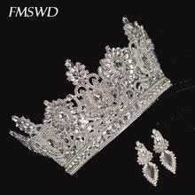 Pendientes redondos de corona de cristal para novia, de boda, hecho a mano, con diamantes de imitación incrustados, tocado, accesorios para el cabello de Miss Decoration World