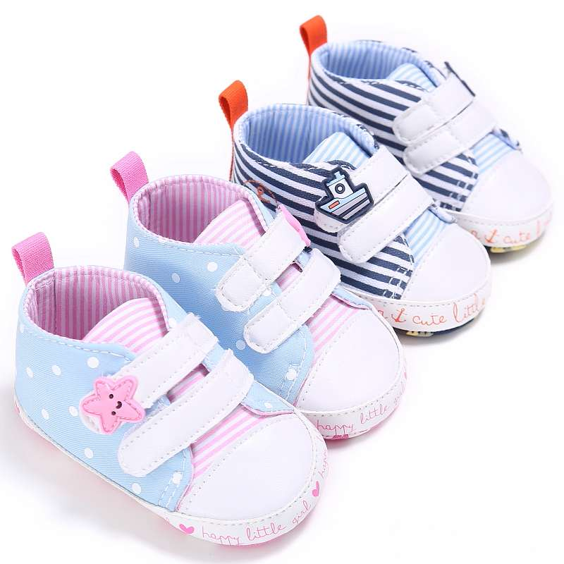 Hot Sale Baby Shoes Girls Boys 2017 Fashion Navy-style Striped Pattern Canvas Soft Bottom Baby Shoes Toddler Shoes