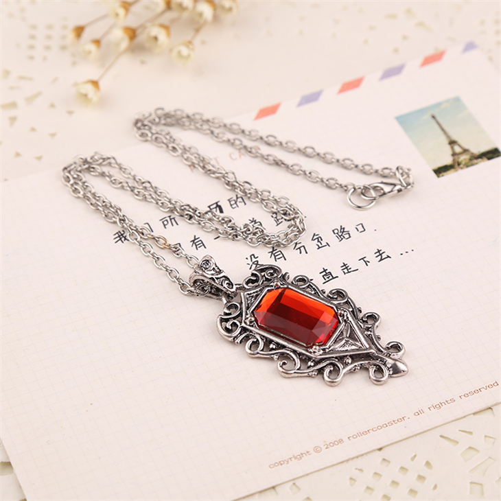 The Mortal Instruments City Of Bones Necklace Isabelle Lightwood Red Crystal Pendant Vintage Steampunk Jewelry Women Wholesale