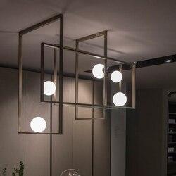 Nordic creatieve metalen plank 5 hoofd kroonluchter kunst voor woonkamer decoratie bal LED G4 verlichting gold hollow verf opknoping lamp