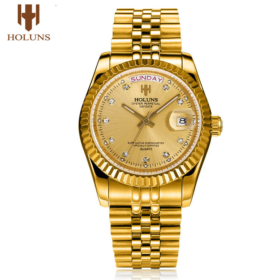 цена на HOLUNS Golden Luxury Stainless Steel Wrist Watch Men Date Week Display Diamond Quartz Mens Watches Top Brand Male Clock Jewelry