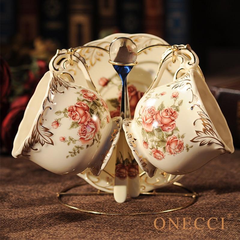 Creative European Porcelain Coffee Cups Set China Chinese Wedding Tea Set Home Decoration Accessories 2
