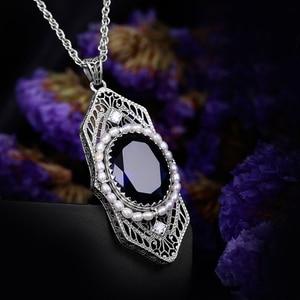 Image 4 - Szjinao Fashion Natrual Pearls Pendant Vintage Fluorite Blue Stone Women 925 Sterling Silver Sapphire Jewelry islam Free Locket