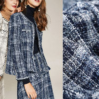 140CM Wide 430G/M Weight Blue Knitted Tweed Acrylic Polyester Cotton Fabric for Autumn and Spring Dress Coat Jacket DE965