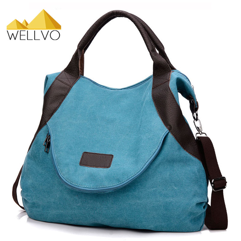 Wellvo Women Canvas Handbag Large Tote Casual Shopping Handbags Shoulder Bag Girls Brown Crossbody Bags bolso sac a main XA1606C недорого