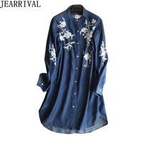 Plus Size Casual Denim Dress 2019 New Spring Women Long Sleeve Stand Collar Floral Embroidery Jeans Shirt Dress Vestido De Festa