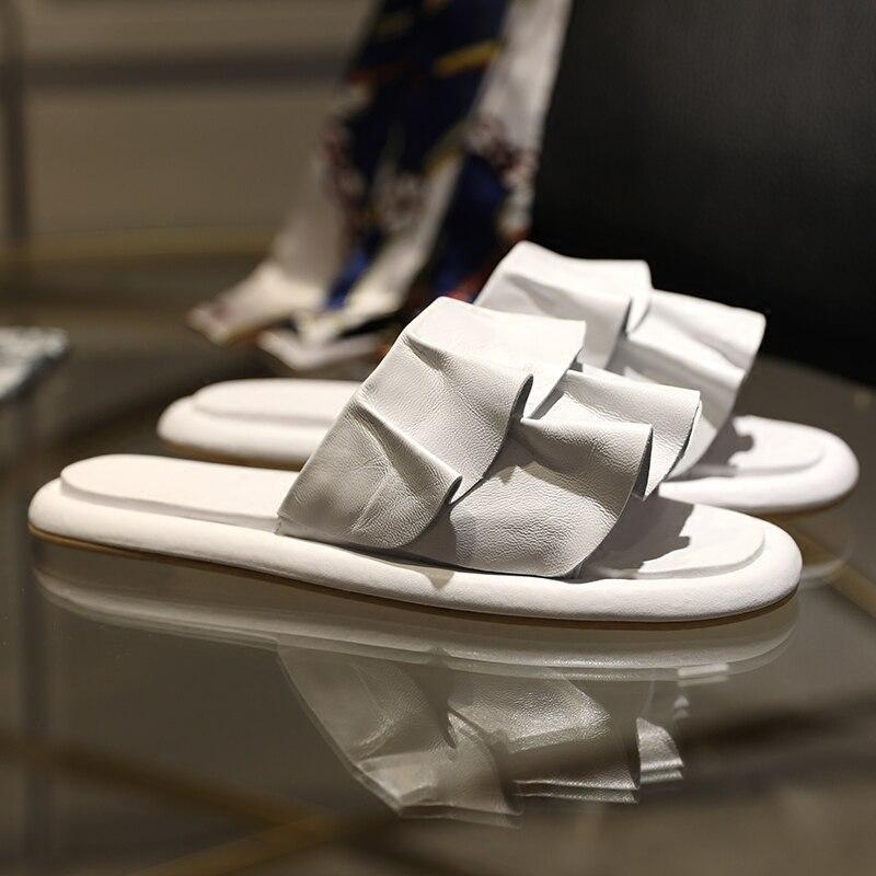 Dehors Hot Volant Chaussures As Pantoufles Femme 2018 Cuir Paresseux De Appartements Tipe Pic Pic Summer Solide Fleurs La Concis as Plage En 4q8ddP
