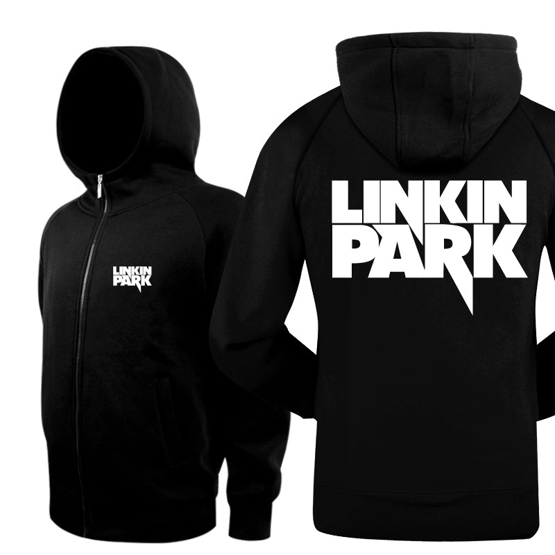 New 2016 Winter Bomber Jacket Men Brand Casual Zip Thicken Cardigan Hip Hop Linkin Park Rock Band Hoodies And Black Sweatshirts