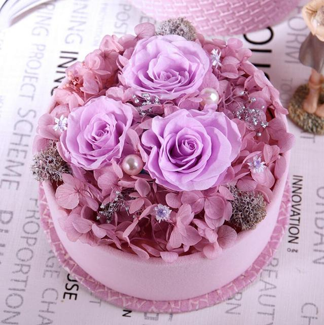 Purple Mixed Preserved Fresh Flowers with Round 13.5cm Box For ...