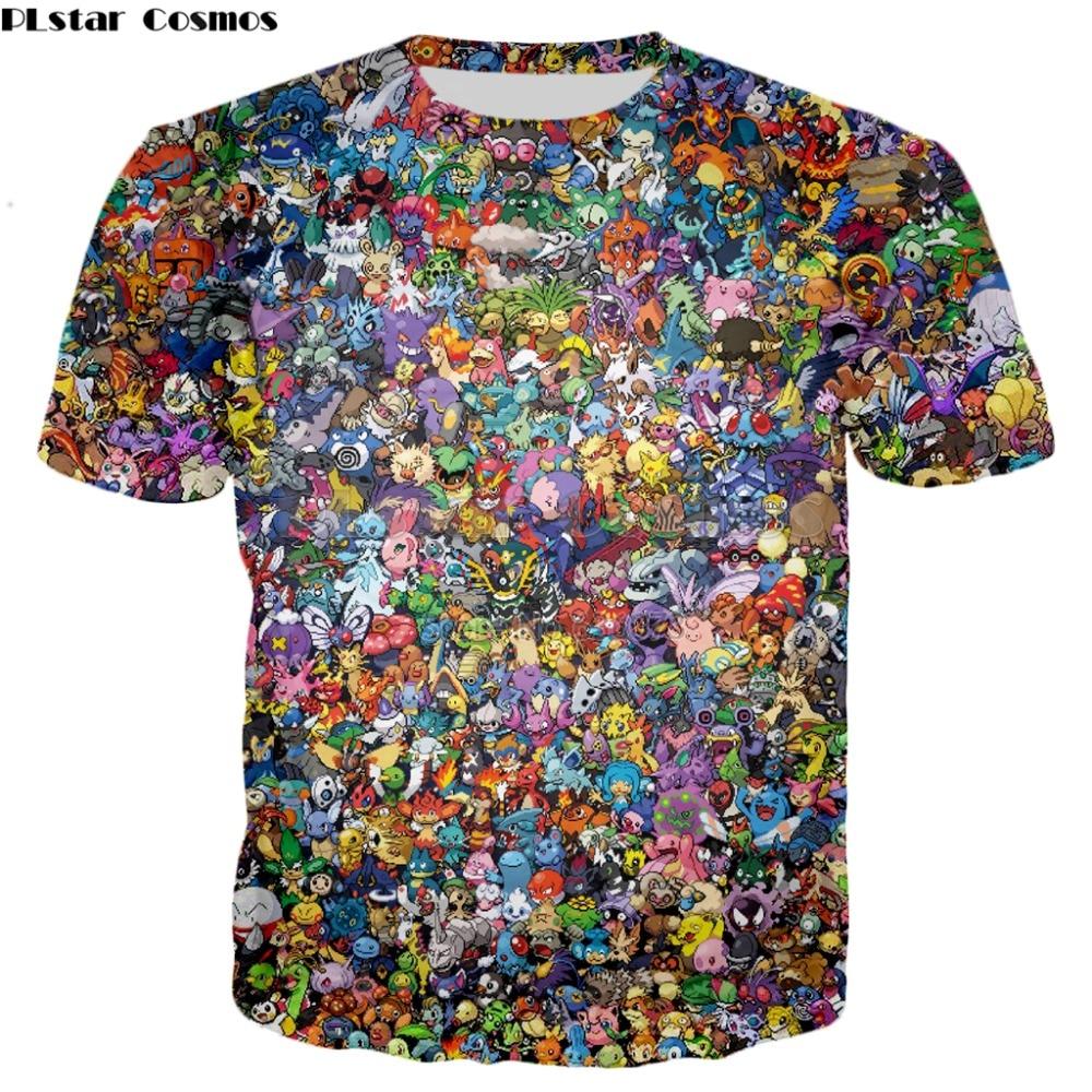 PLstar Cosmos 2018 summer New Harajuku style T-shirt 90s Cartoon Pokemon 3d Print Men's Women's Casual Cool t shirt YT-139