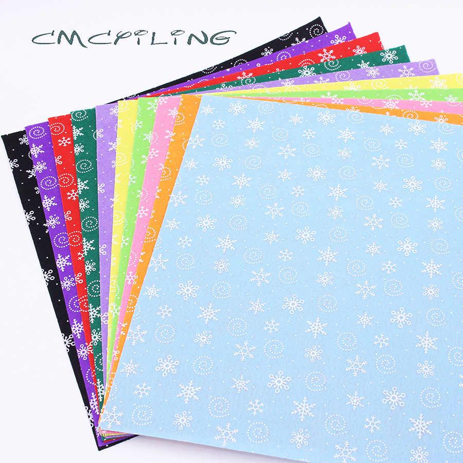 CMCYILING 10 pz/lotto 30 centimetri * 30cm Stampato Feltro Tessuto Per I Bambini Cucito FAI DA TE Artigianato Bambole Feltro Copriletto 1 MM di Spessore Fiocco di Neve