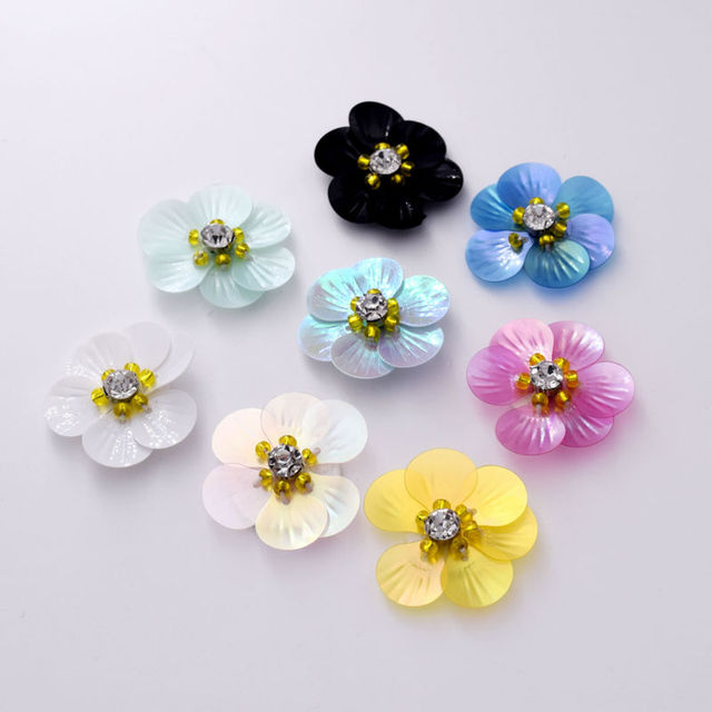 DIY 30mm Wholesale 20pcs Sew on Fabric Embellishments Rhinestone Iron on Handmade  Plastic Flower Beaded Hairbow Girls Boutique 0d9dce7e774f