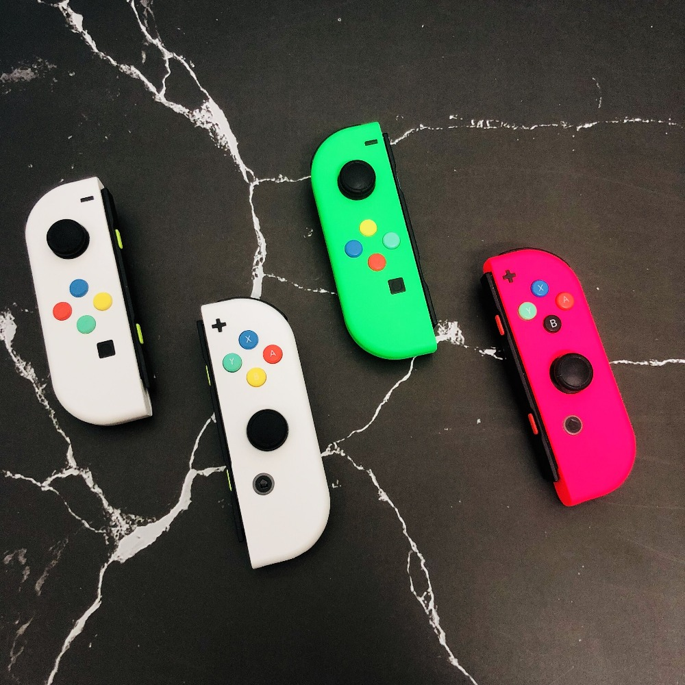 1 paar Neue Für Nintendo Schalter Nach Joycons Weiß Freude Con Controller NS Schalter Freude Con L + R Joystick mit ABXY Farbige Tasten