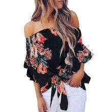 Женская Сексуальная Блузка с вырезом-лодочкой и бантом, топы с цветочным принтом, летние повседневные рубашки с открытыми плечами, женская модная одежда, blusas de mujer