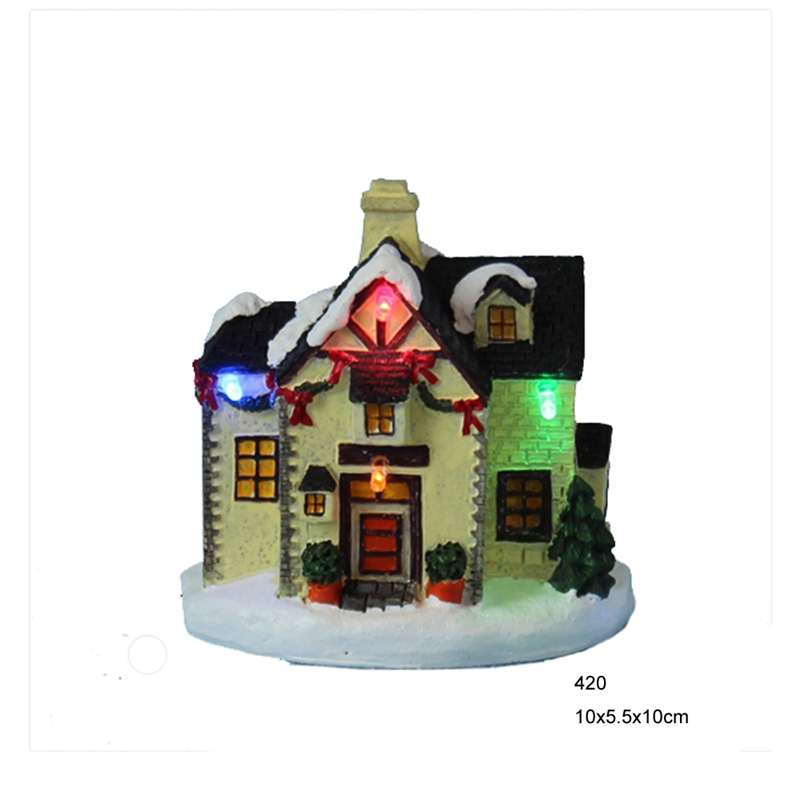 4 Led Paper Mache Polyresin Small Christmas Village House Design With Led Light Christmas