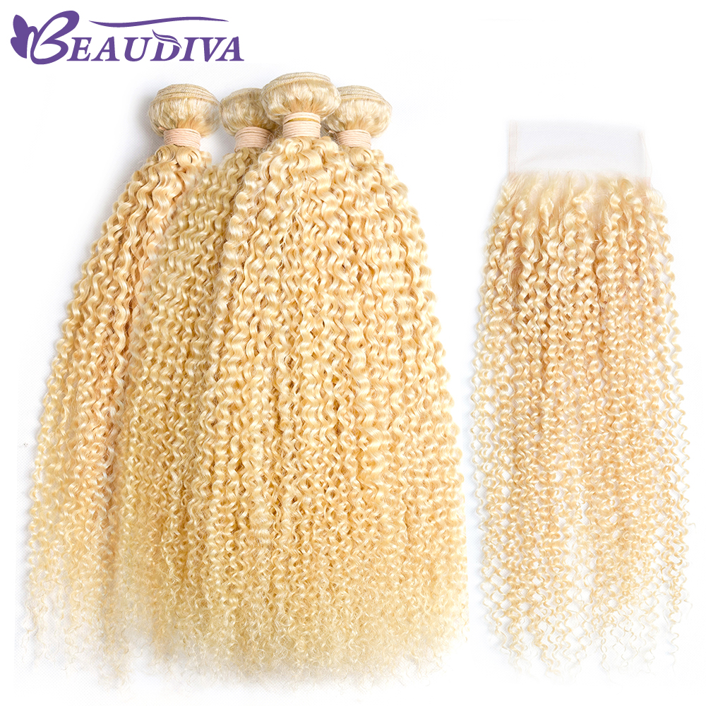 Beaudiva 613 Blonde Human Hair Bundles With Lace Closure Kinky Curly Brazilian Hair Weave Bundles with
