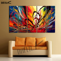 5 Pieces Hand Painted Modern Abstract Oil Painting Canvas Wall Art For Living Room Home Decor
