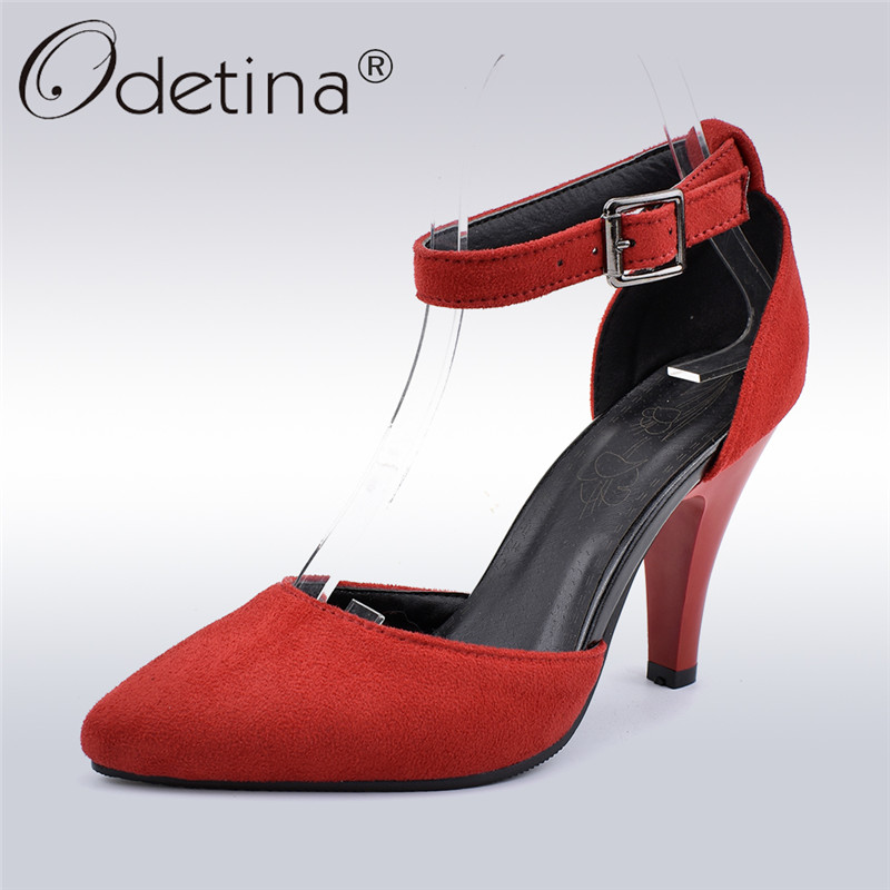 Odetina New Fashion Faux Suede Women High Heel Dress D'Orsay Pumps Shoes Buckle Ankle Strap Pointed Toe Stilettos Big Size 33-48
