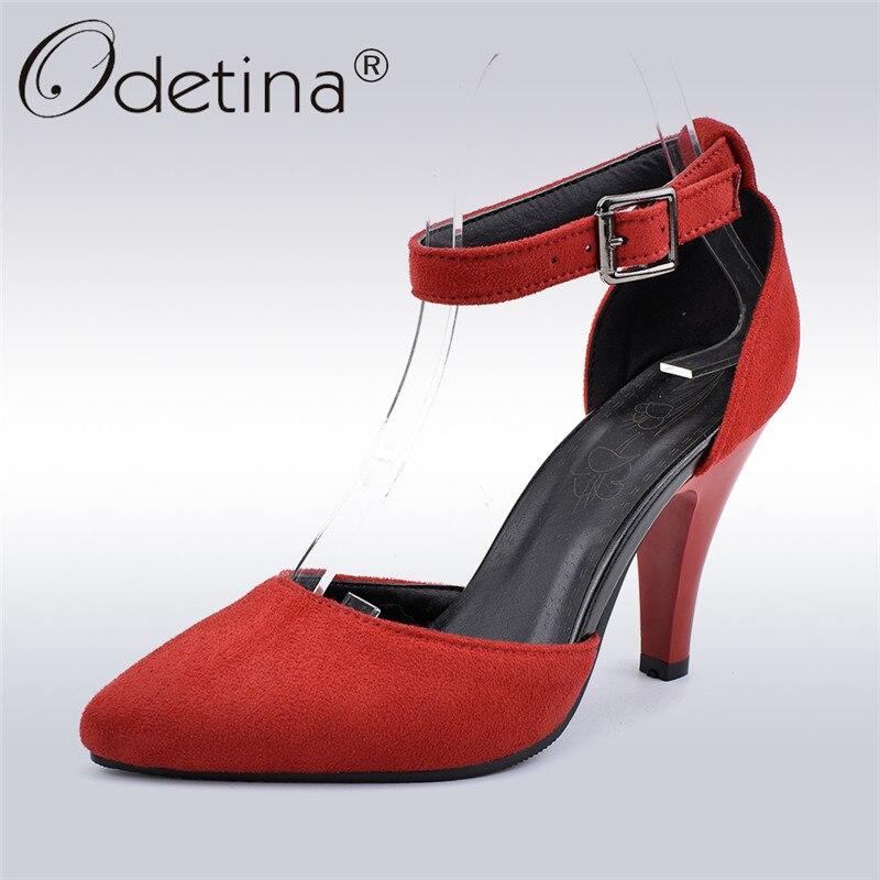 Odetina nouvelle mode Faux daim femmes robe à talons hauts D'Orsay pompes chaussures boucle cheville sangle bout pointu talons aiguilles grande taille 33-48