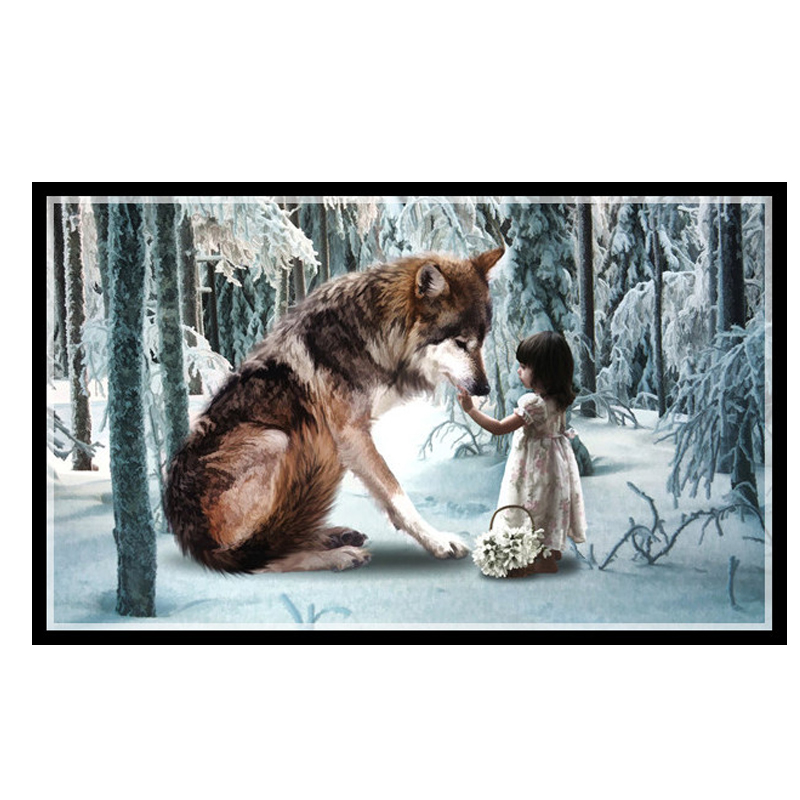 Golden panno,Needlework,Embroidery,DIY portrait Painting,Cross stitch,kits,14ct wolf and girl Cross-stitch,Sets For EmbroideGolden panno,Needlework,Embroidery,DIY portrait Painting,Cross stitch,kits,14ct wolf and girl Cross-stitch,Sets For Embroide