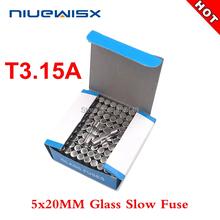 100 sztuk pudło 5*20mm 3 15A 250V wolny bezpiecznik 5*20 T3 15A 3150MA 250V bezpiecznik szklany 5mm * 20mm nowy i oryginalny tanie tanio 5*20mm T3 15A slow fuse Wysokiego napięcia Niskie