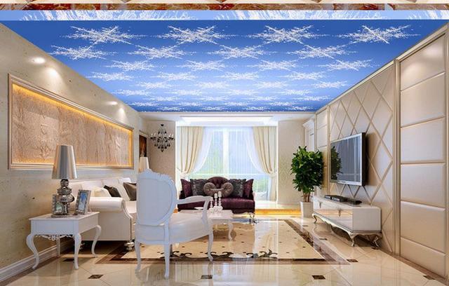 Interieur Ice Blauw : D plafond muurschilderingen behang blauw droom cool ijs bloem