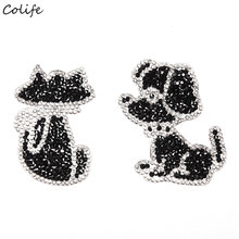 Leuke Dier Hond Strass Doek Patches DIY Zwarte Kat Cartoon Patch Voor Kleding Stickers Badge Jeans Schoenen(China)