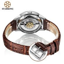 STARKING Man Wrist Watch High Beats Mechanical Movement Automatic Watches AM0184 Black Leater Band Set Sapphire Crystal Clock