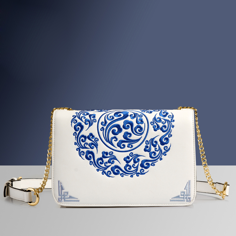 Autumn Original Design National Wind PU Leather Blue and White Porcelain Embroidery Lady Bags Chain Flap Shoulder Messenger Bag