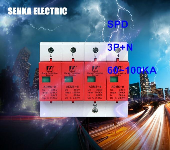 SPD 60-100KA 3P+N surge arrester protection device electric house surge protector D ~420V AC [zob] hagrid spn465r surge protection device 4 65ka t2 grade imported 3p n lightning surge