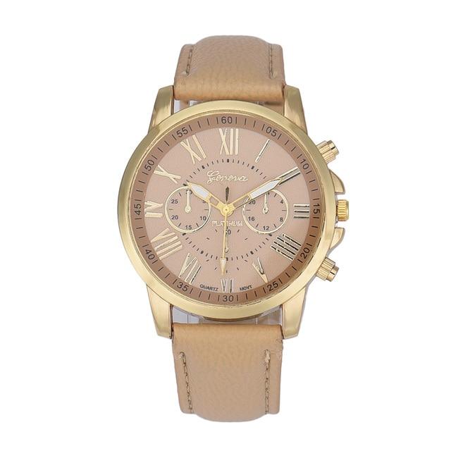 Montre Femme Fashion Watch Women Roman Numerals Beige Women's Luxury Watches Lea